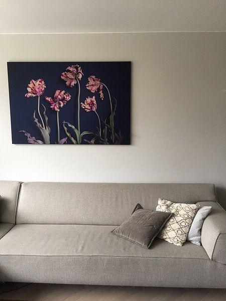 Klantfoto: Tuin van vergane rembrandt tulpen van Karel Ham, op print op doek