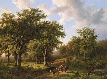 Boslandschap met herders en vee, Barend Cornelis Koekkoek sur