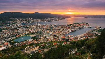 Sonnenuntergang Bergen, Norwegen