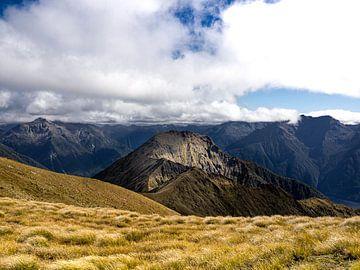 Zonlicht valt op een bergtop in Fiordland National Park in Nieuw-Zeeland van Rik Pijnenburg