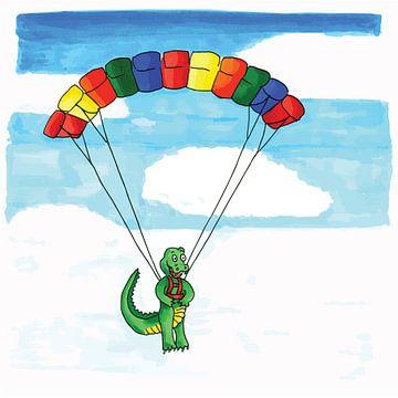 Grappige tekening van krokodil die aan paraglider hangt van Ivonne Wierink