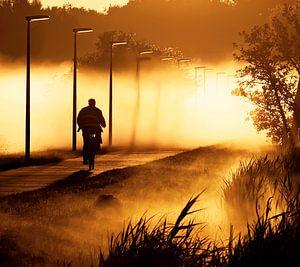 fietser in de mist