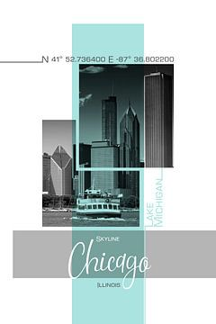 Affichekunst CHICAGO Skyline | turkoois van Melanie Viola
