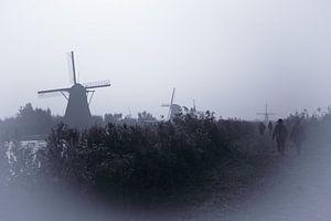 Molens in de mist van