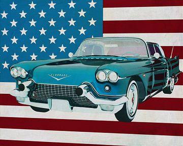 Cadillac Eldorado Brougham 1957 voor de Amerikaanse vlag.