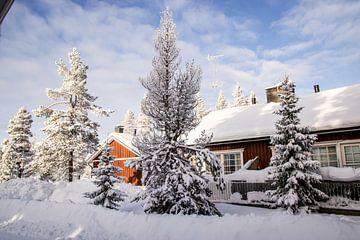 Cabin in Fins Lapland in een dik pak sneeuw