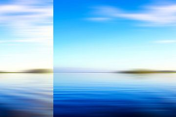 Abstract blauw zeegezicht van Jan Brons