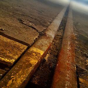 Vervlogen rails van