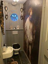 Klantfoto: Badende vrouw, Rembrandt van Rijn, op behang