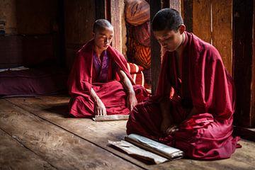 Jonge monniken in gebed ruimte in Dzong van Trongsa Bhutan. Wout Kok One2expose sur Wout Kok