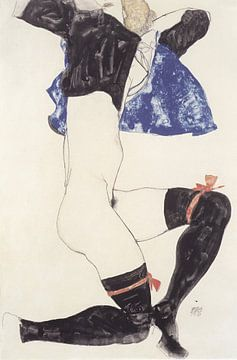Liegender Halbtakt mit schwarzen Strümpfen, Egon Schiele - 1913 von Atelier Liesjes