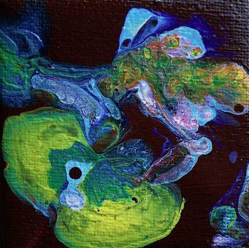 Acryl Pouring met geel en blauw von Angelique van 't Riet