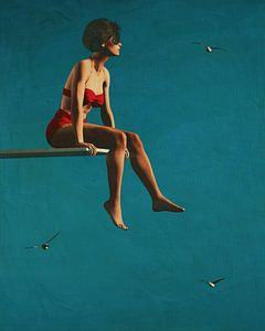 Een vrouw zittend op een duikplank van Jan Keteleer
