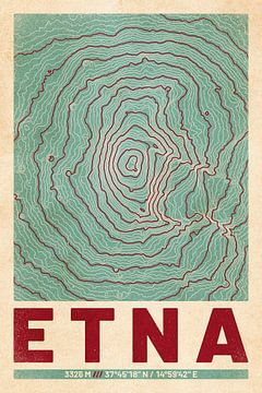 Ätna | Landkarte Topografie (Retro) von ViaMapia