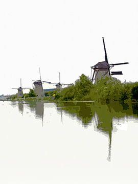 Windmolens aan de Kinderdijkse gracht van Dirk H. Wendt