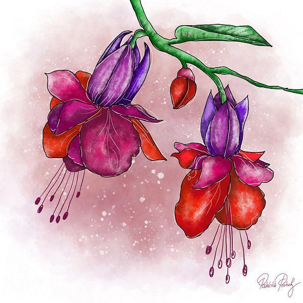 Blumenmotiv - Fuchsia Rot und Lila von Patricia Piotrak