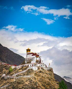 Tibetaans klooster op een berg bij Nedong, Tibet van Rietje Bulthuis