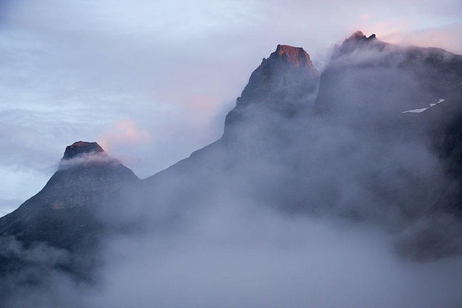 Mistig landschap in de bergen van Noorwegen