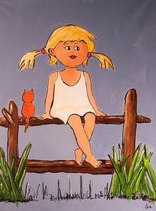 Meisje op een hek