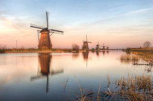 Zonsondergang bij Kinderdijk.