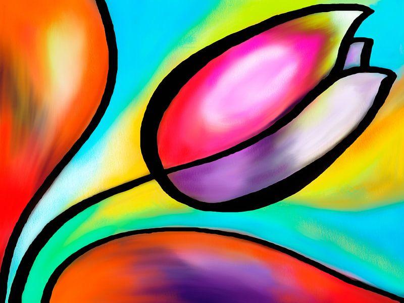 Kleurrijke tulp van Lida Bruinen