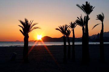 Ondergaande zon strand Benidorm van Albert van Dijk