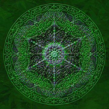 Mandala, verts, avec des lignes soulevées sur Rietje Bulthuis