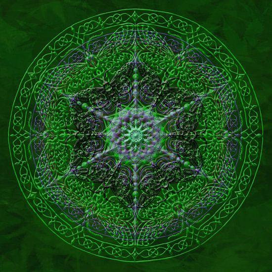 Mandala, groen, met verdikte lijnen