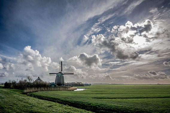 Noord Hollands landschap met molen