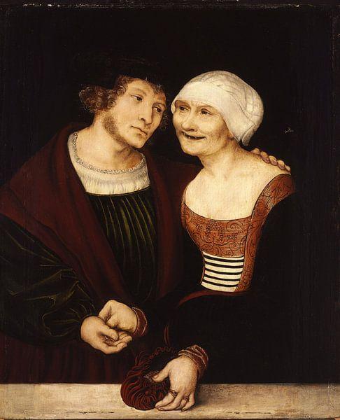 Lucas Cranach.Alte Frau mit jungem Mann von 1000 Schilderijen