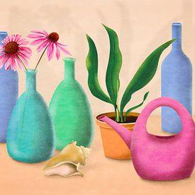 Nature morte avec des fleurs et un arrosoir sur Lida Bruinen