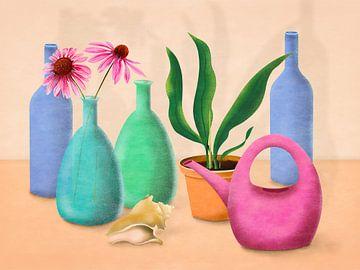 Nature morte avec des fleurs et un arrosoir