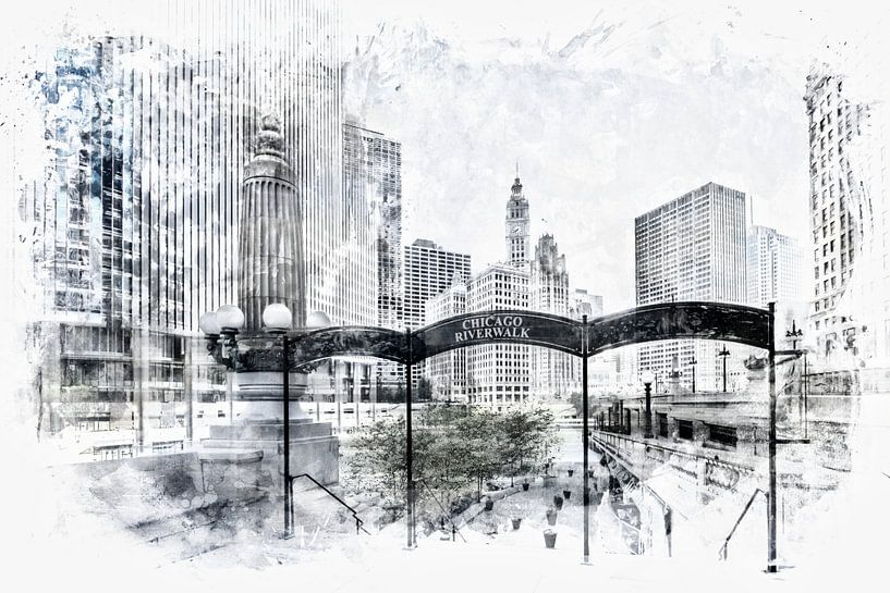 City Art CHICAGO Downtown View van Melanie Viola