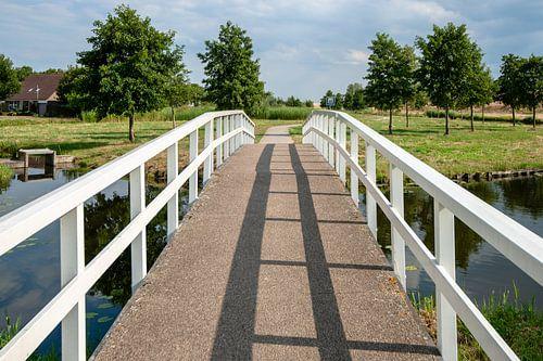 Witte kleine voetgangersbrug over gracht in woonwijk