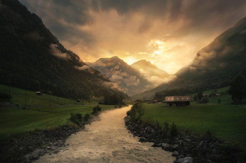 Leinwandbild 120x80cm auf Keilrahmen Berg,Landschaft,Sonnenlicht,abend,Blumen