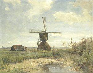 'Zonnige dag': een molen aan een wetering, Paul Joseph Constantin Gabriël van