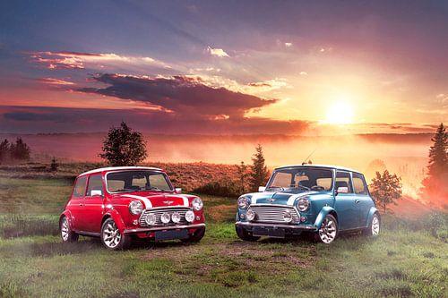 Classic Mini Cooper S bij zonsopkomst