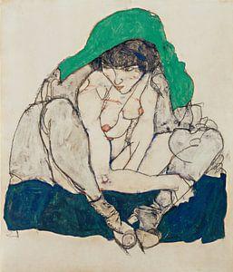 Egon Schiele. Crouching Woman with Green Headscarf