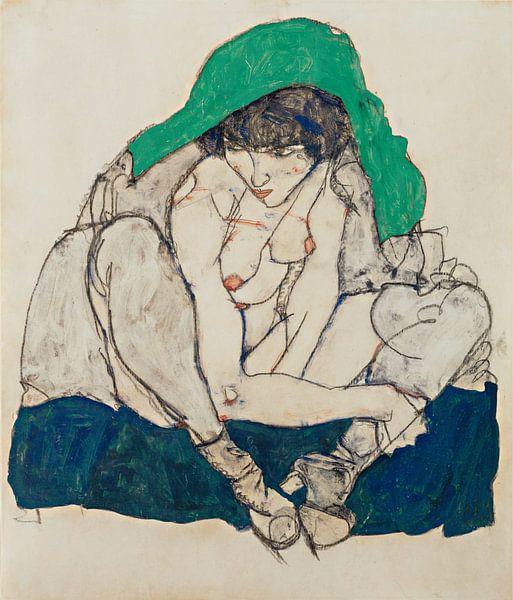 Egon Schiele. Crouching Woman with Green Headscarf van 1000 Schilderijen