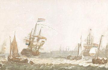 Gezicht op het het IJ met het Oost-Indisch Zeemagazijn en de Oosterkerk, Johan Teyler