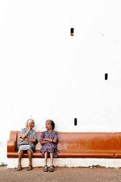 Op een bankje in Goa, India