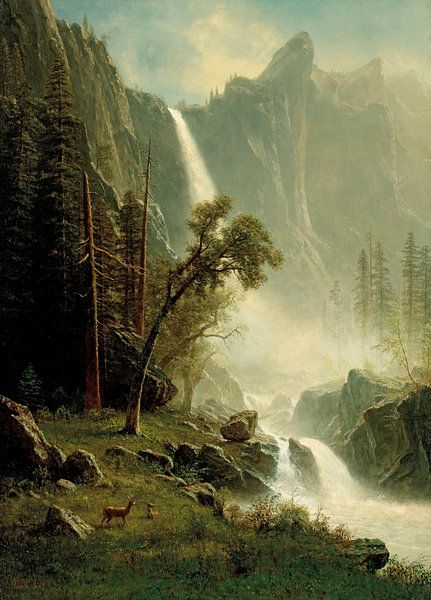 Brautschleierfall, Yosemite, Albert Bierstadt von Meesterlijcke Meesters