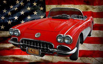 Corvette C1 Cabriolet met Amerikaanse vlag van aRi F. Huber