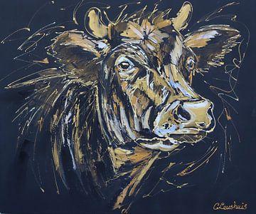 Schwarz/goldene Kuh von Vrolijk Schilderij