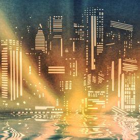 City lights on the river - Stadtlichter am Fluss van Dagmar Marina