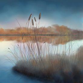 Aquarelschilderij van een meer onder een blauwe lucht van Tanja Udelhofen