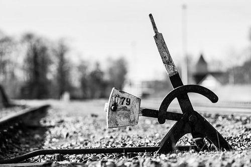 Oude retro spoorweg wissel