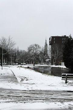 Nieuwe Kerk Delft in de sneeuw van Mariska van Vondelen