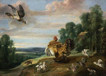 Ein Falke und eine Bruthenne, Frans Snyders.