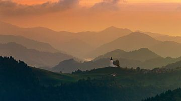 Sonnenaufgang bei Sveti Andrej, Slowenien von Adelheid Smitt